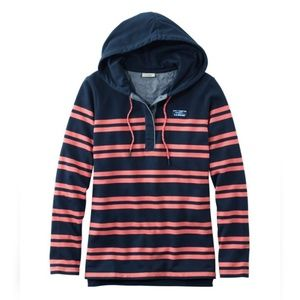 L.L. Bean rugby hoodie striped coral navy blue S